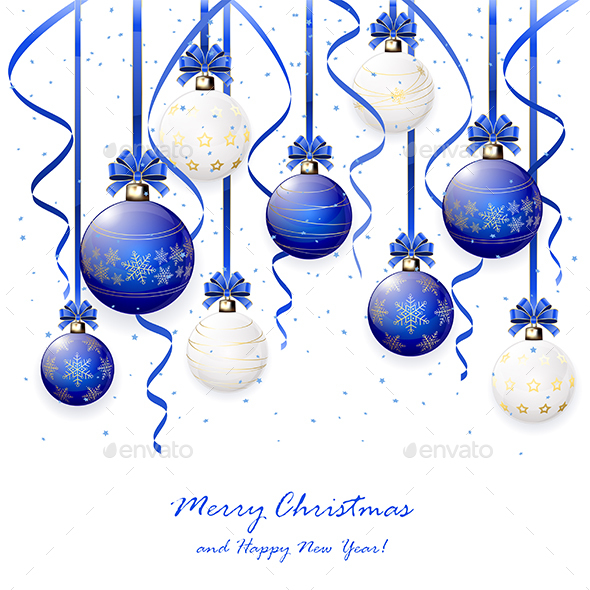 Blue and White Christmas Balls with Tinsel by losw | GraphicRiver