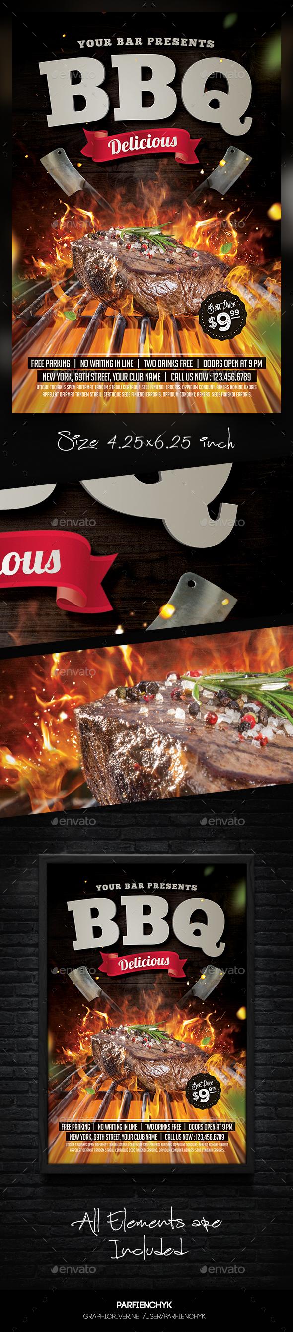 Steak Bbq Flyer Template By Parfienchyk Graphicriver
