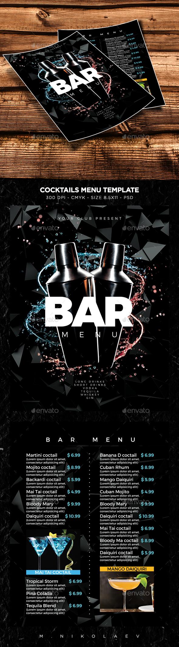 Cocktail Drinks Menu V10