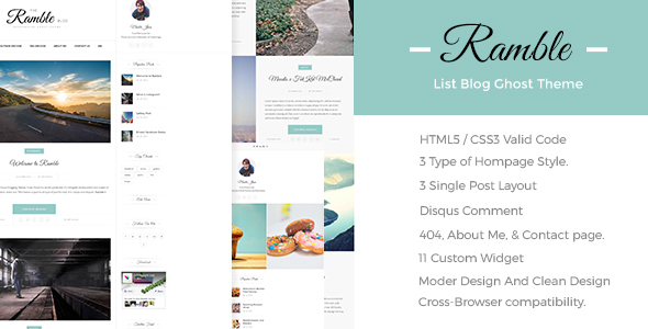 Ramble-List – A Responsive Ghost Blog Theme