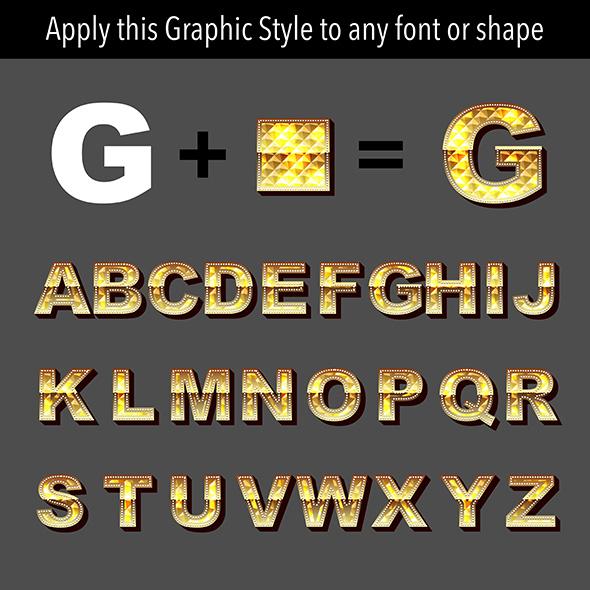 Gold Diamond Graphic Style - Styles Illustrator