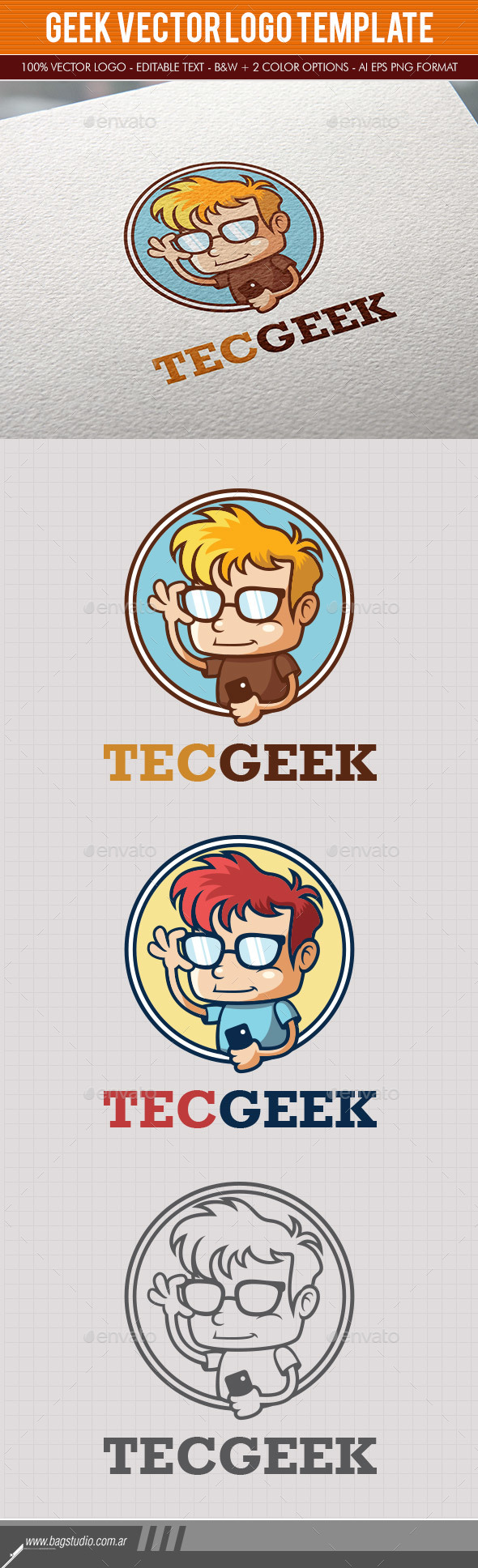 Technology Geek Logo Template