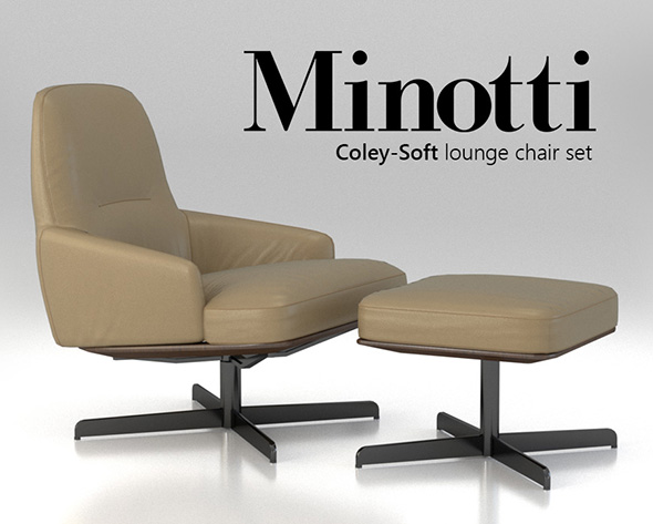 Minotti Coley-Soft lounge chair set - 3DOcean Item for Sale