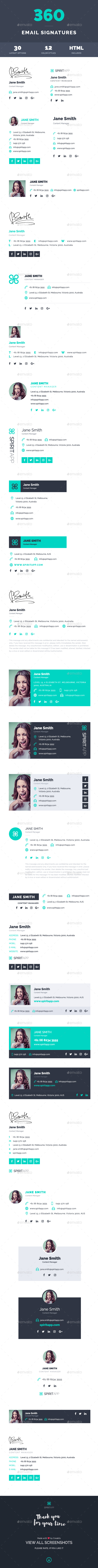 360 Professional E-Signature Templates - Miscellaneous Social Media