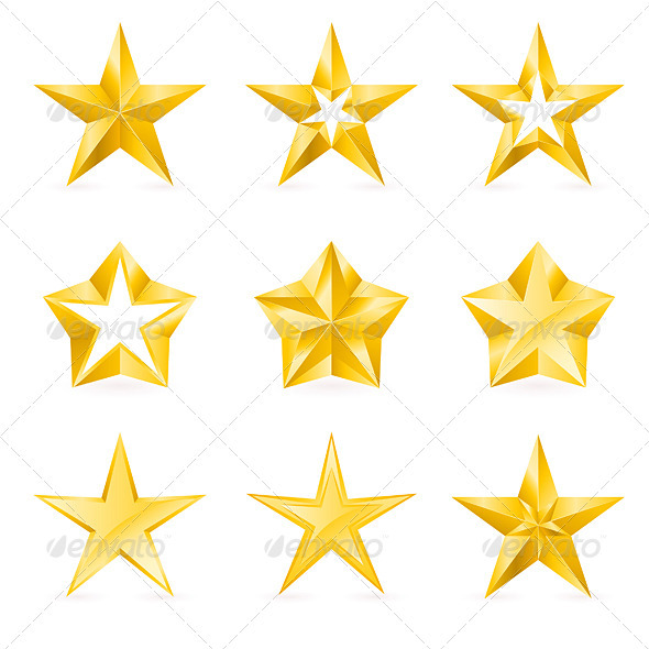 Different Types and Forms of Gold Stars - Objects Vectors