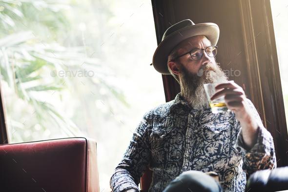 Senior Man Liquor Booze Alcohol Bar Drinking Concept - Stock Photo - Images