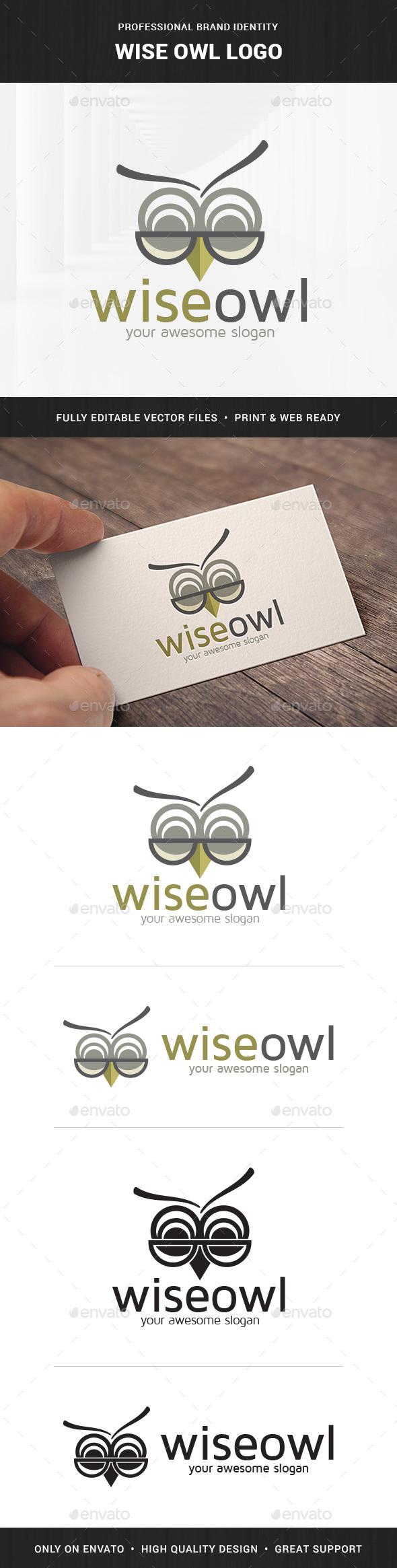 Wise Owl Logo Template - Animals Logo Templates