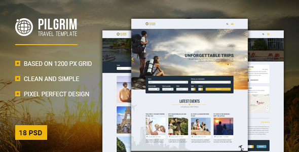 Pilgrim — Travel Agency/Tour Operator/Travel Booking PSD Template