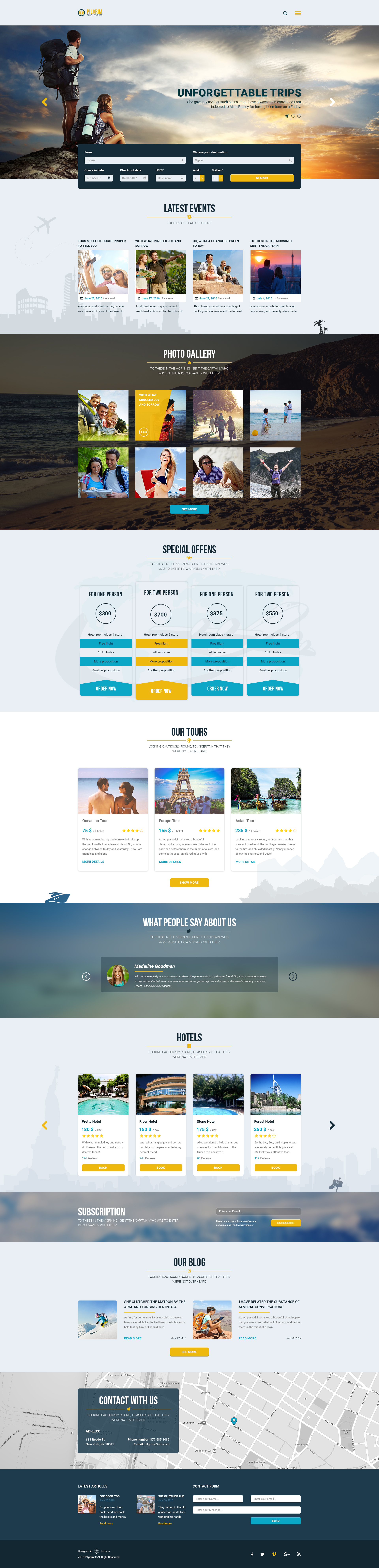 Pilgrim Travel Agency Tour Operator Travel Booking PSD Template - Booking website template