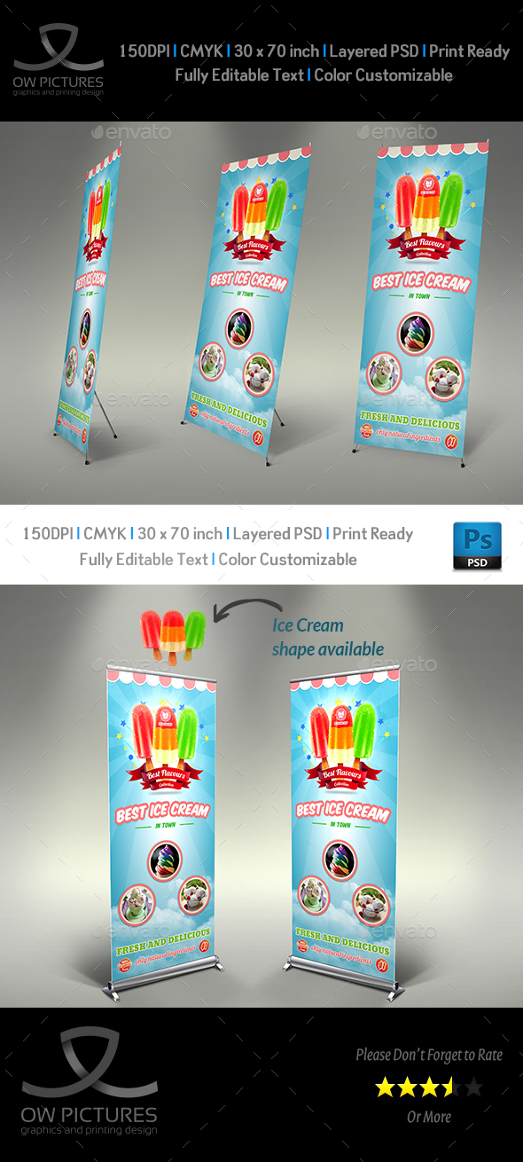 Ice Cream Rollup Signage Template Vol.5