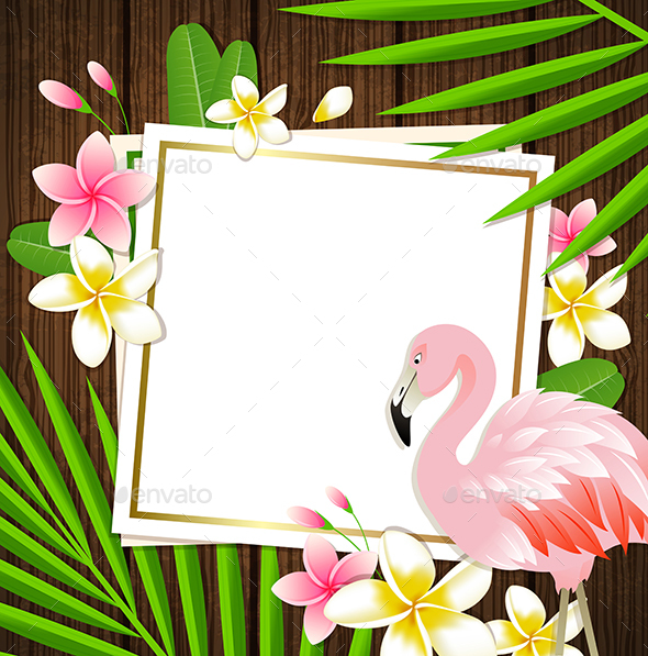 Summer Frame with Flamingo by Artness | GraphicRiver