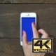 Zoom Out Hand Smartphone With Blue Screen - VideoHive Item for Sale