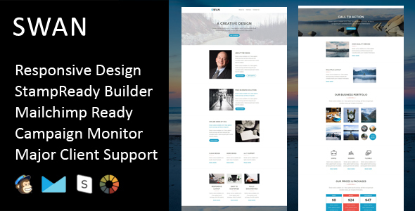 Swan – Multipurpose Responsive Email Template + Stampready Builder
