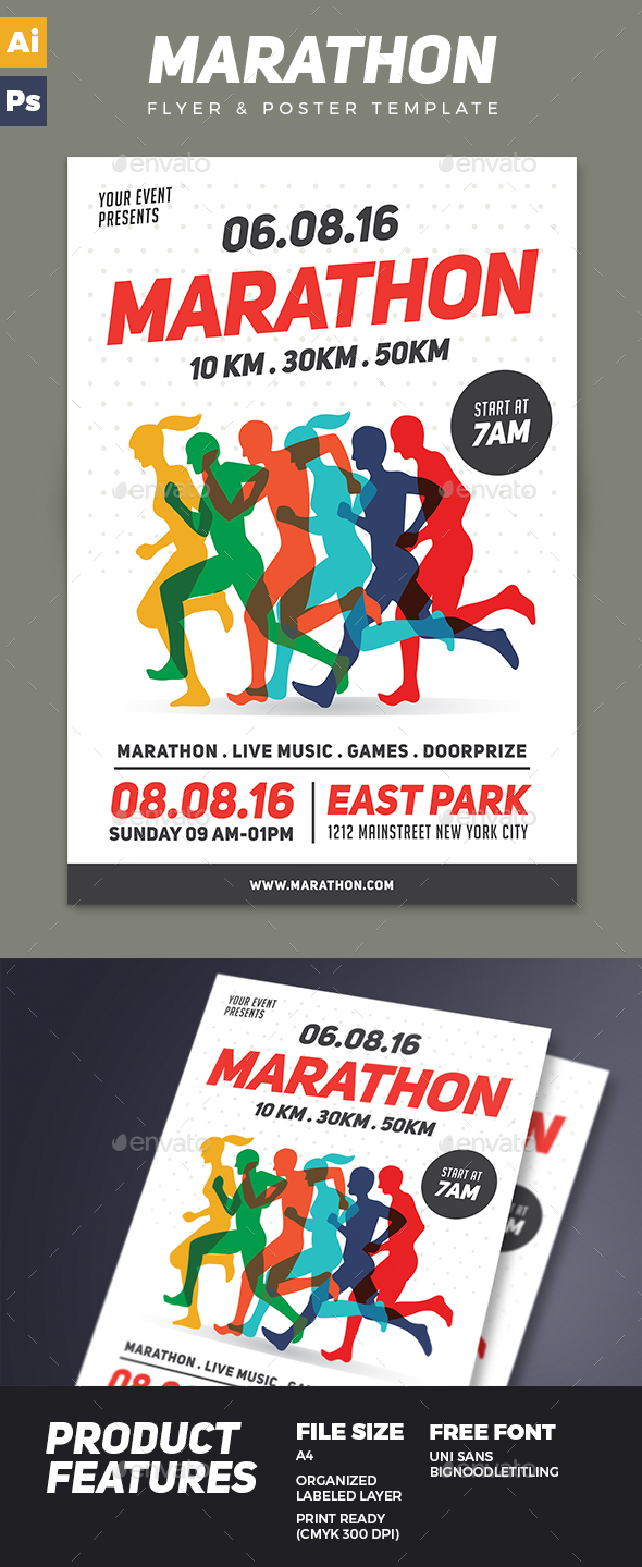 Marathon Event Flyer Template By Vynetta Graphicriver