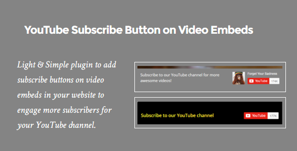 YouTube Subscribe Button on Video Embeds - CodeCanyon Item for Sale