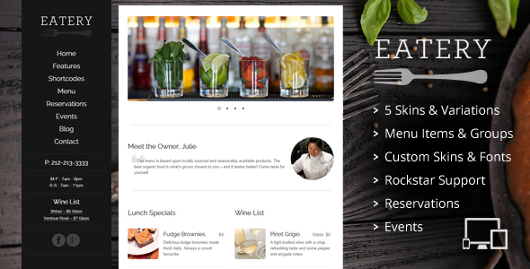 Eatery - Responsive Restaurant WordPress Theme
