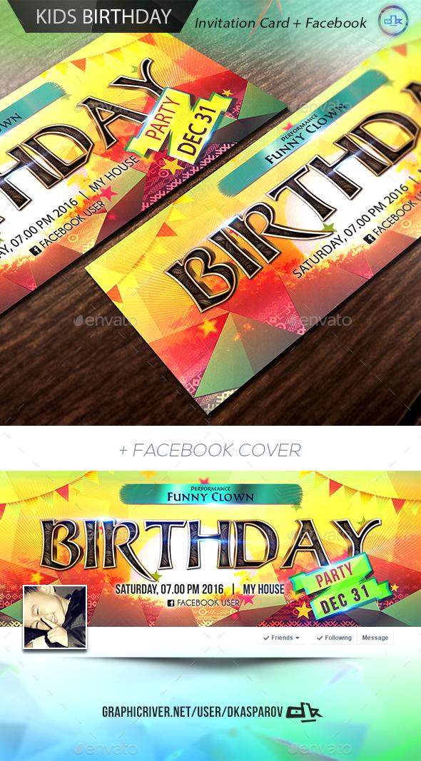 Kids Birthday Invitation Card + Facebook Cover by Dkasparov ...