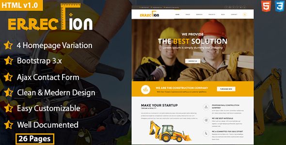 Erraction - Construction Business HTML5 Template