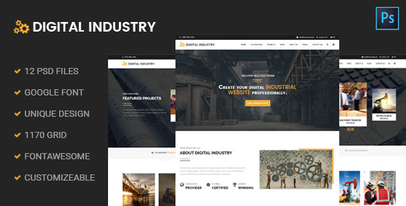 Digital Industry - Industrial Business PSD Template - Business Corporate
