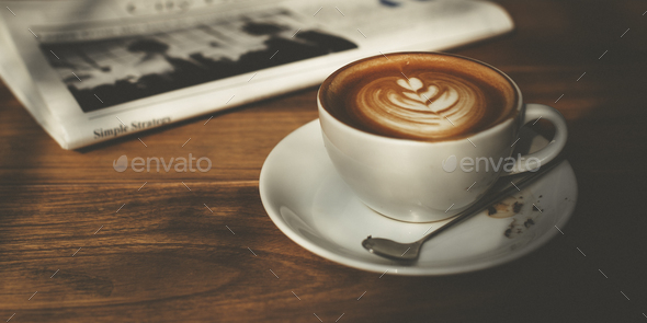 Coffee Shop Cafe Latte Cappuccino Newspaper Concept - Stock Photo - Images
