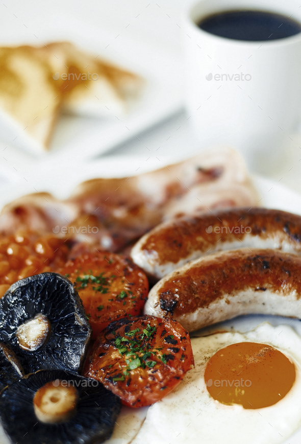 Close-Up Photo Of Full English Breakfast Concept - Stock Photo - Images