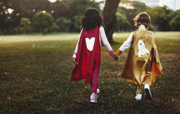 Superhero Kids Aspirations Fun Outdoors Concept - Stock Photo - Images