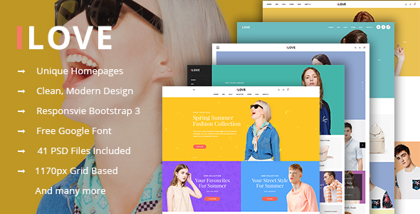 iLove – Creative Online Fashion PSD Template