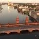 Oberbaum Bridge In Berlin At Evening Aerial View - VideoHive Item for Sale