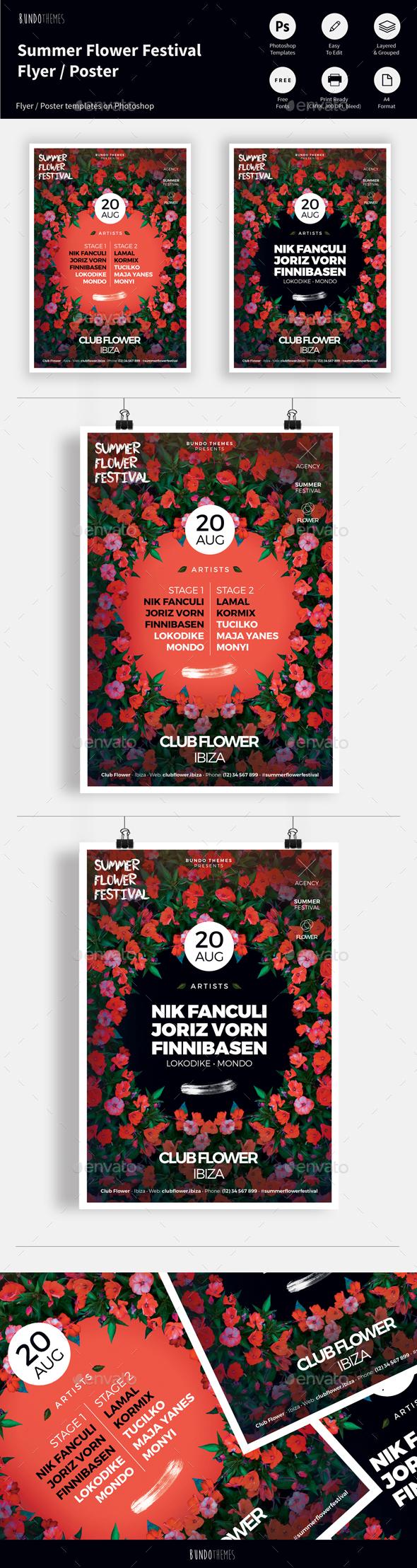 Summer Flower Festival Flyer / Poster