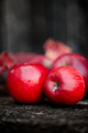 Two red organic fresh apples on a wooden surface, autumn harvest - PhotoDune Item for Sale