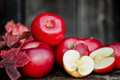 organic fresh apples on wooden background in autumn harvest at l - PhotoDune Item for Sale