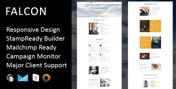 Falcon – Multipurpose Responsive Email Template + Stampready Builder