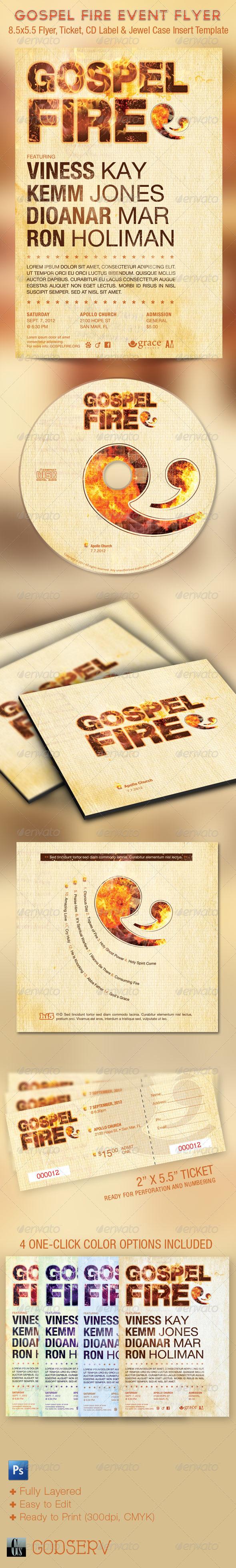 Gospel Fire Church Flyer Ticket CD Template - Church Flyers