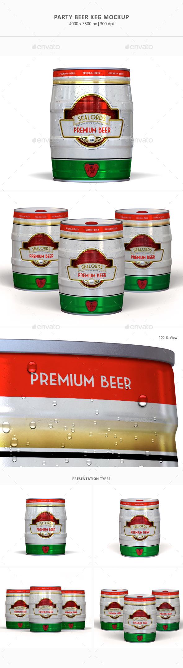 Party Beer Keg Mock-up - Food and Drink Packaging