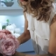 Woman Takes a Bouquet Of Pink Roses At Flower Shop - VideoHive Item for Sale