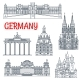 Tourism Thin Line Germany Remarkable Landmark - GraphicRiver Item for Sale