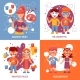 Children with Painted Faces Concept Icons Set  - GraphicRiver Item for Sale
