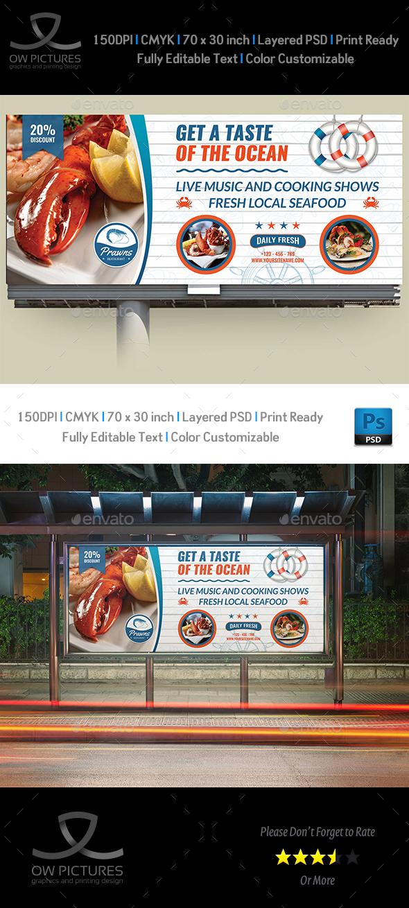 Seafood Restaurant Billboard Template