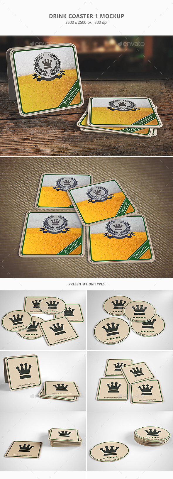 Drink Coaster Mock-Up Vol.1 - Miscellaneous Product Mock-Ups