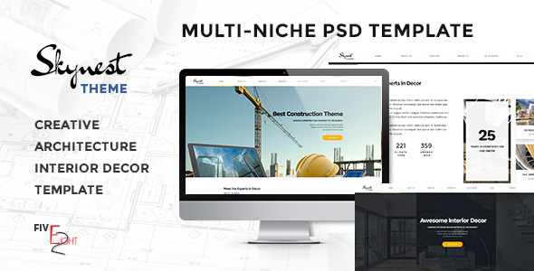 Skynest – Multi-Niche PSD Template for Construction, Architecture, and Interior Design Business