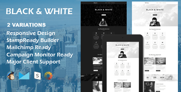 BLACK & WHITE – Multipurpose Responsive Email Template + Stamp Ready Builder