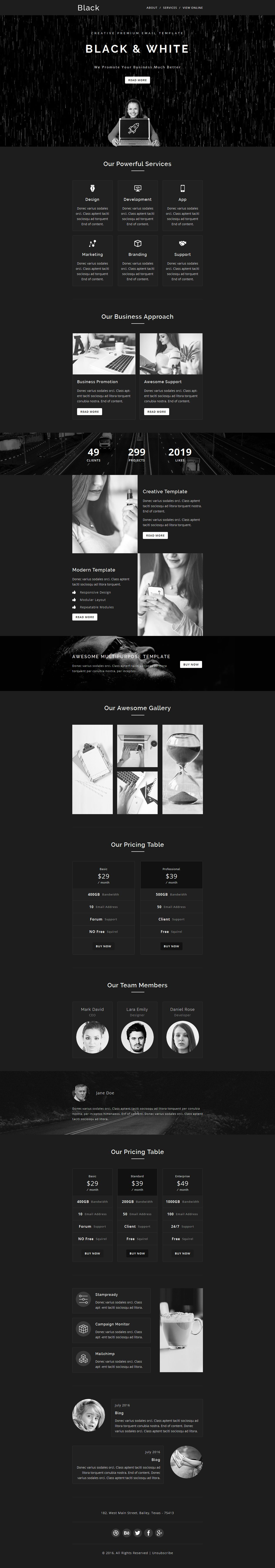BLACK & WHITE - Multipurpose Responsive Email Template + Stamp Ready ...