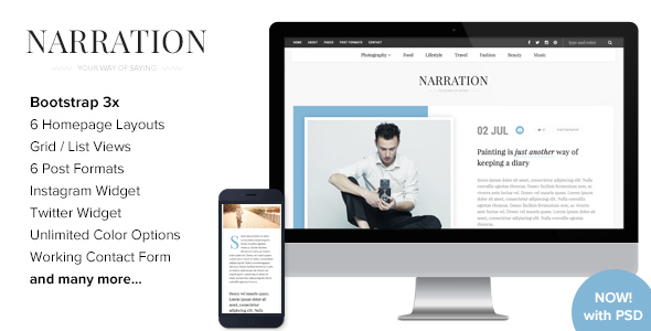 Narration - A Responsive HTML5 Blog Template - Creative Site Templates