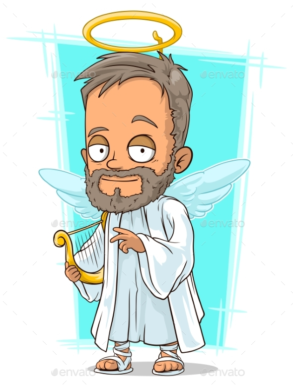 Cartoon Holy Man with Small Wings - Religion Conceptual