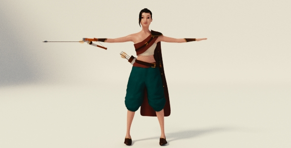 Young Asian Archer - 3DOcean Item for Sale