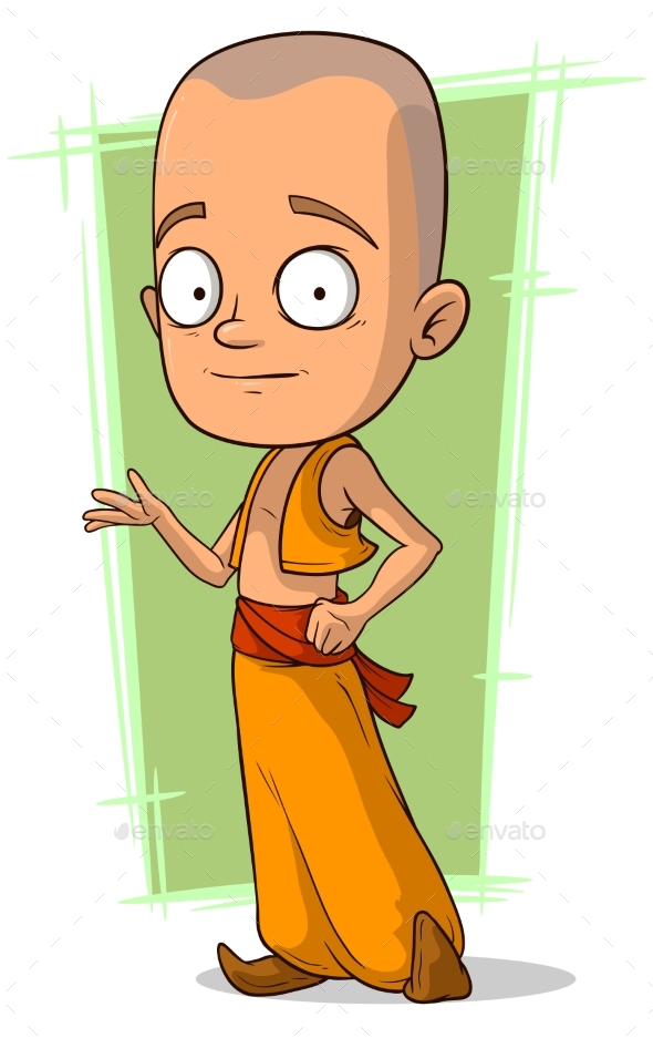 Cartoon Young Buddhist Boy - Religion Conceptual