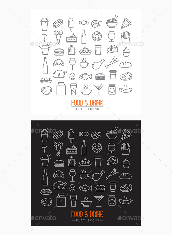 Flat Food Icons - Food Objects