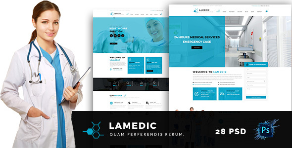Lamadic –  Health & Medical PSD Template
