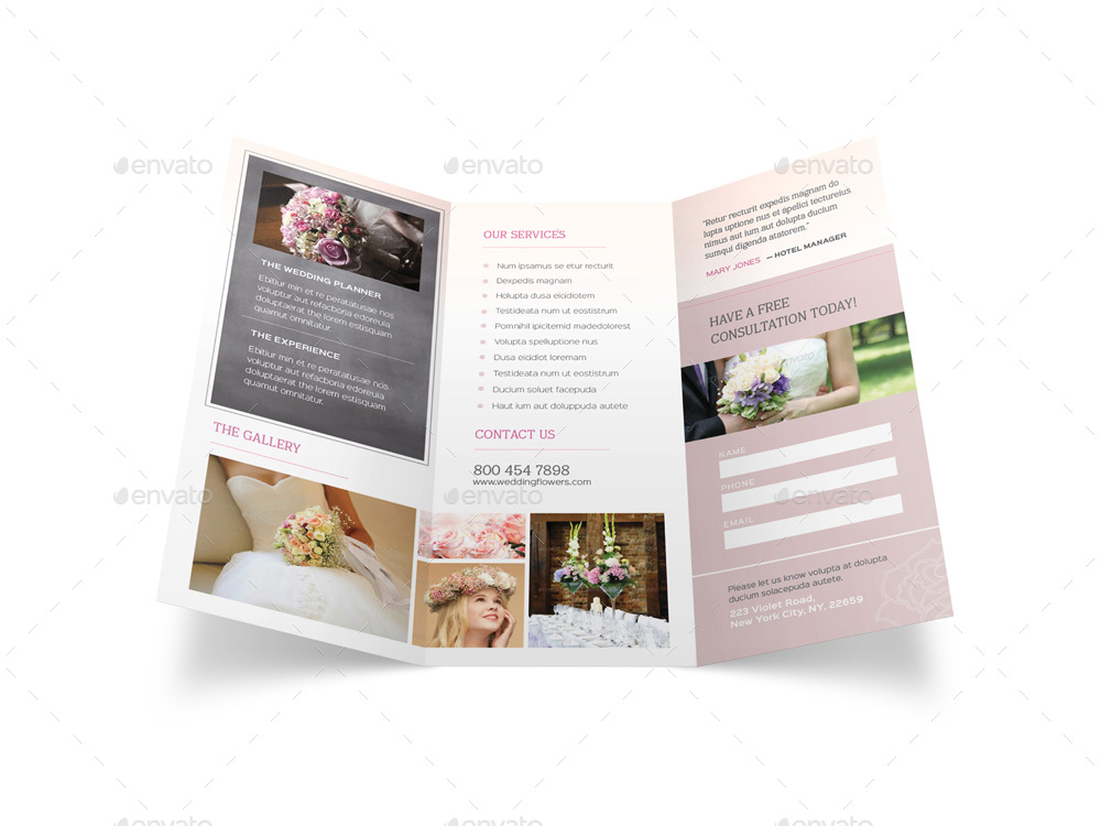 wedding planner trifold brochure by mike pantone graphicriver