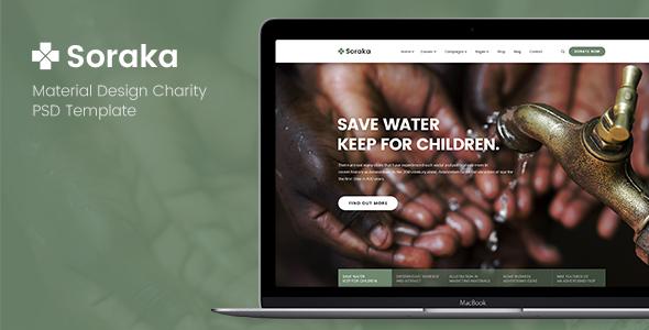 Soraka – Material Design Charity PSD Template